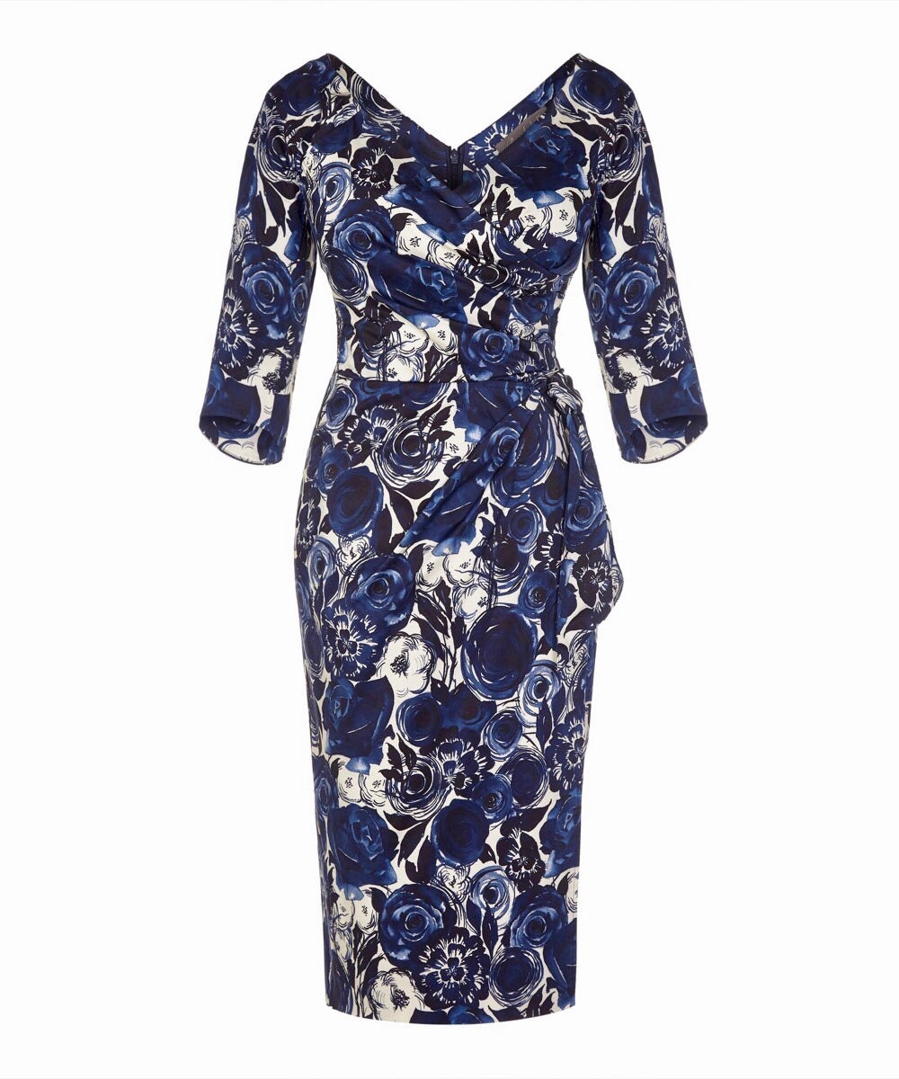 121b6bf20d9 Mother of the Bride Wedding Guest Nigella Dress in Navy Toby Roses –  Bombshell London