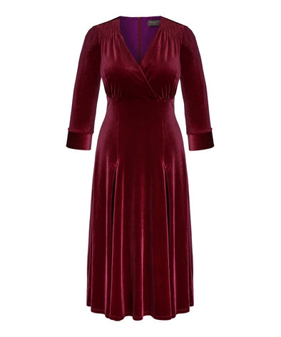 Wine Velvet Swing Bombshell Tea Dress - NOW IN