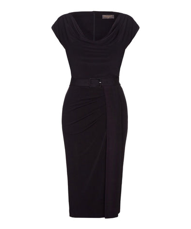 Stretch Luxe' Scoop Neck Bombshell Cap Sleeve Jersey Dress Black
