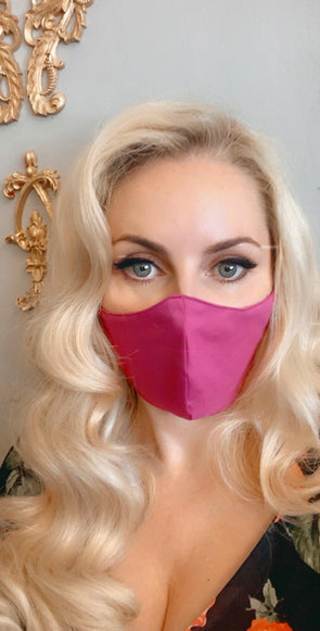 Bombshell Facemask With Filter Pocket Made With Liberty Plain Dyed Tana Lawn - Fuchsia