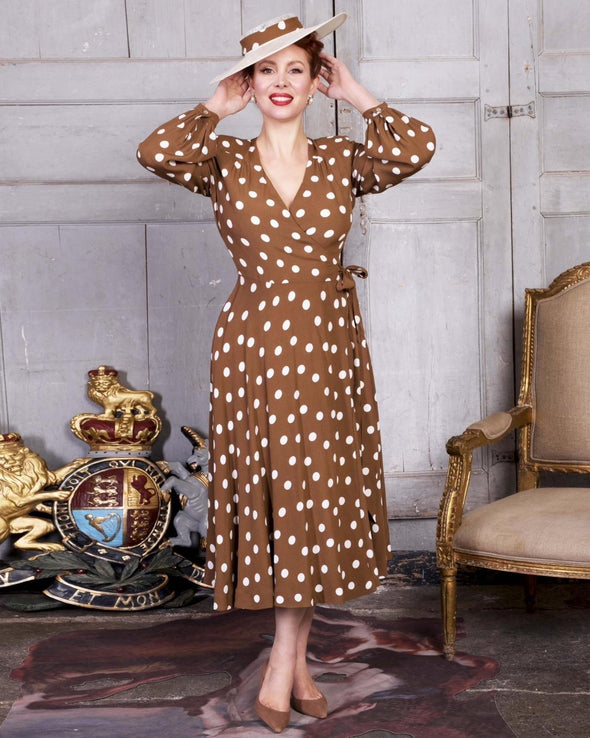 Brown Dot Bell Sleeve Wrap Dress