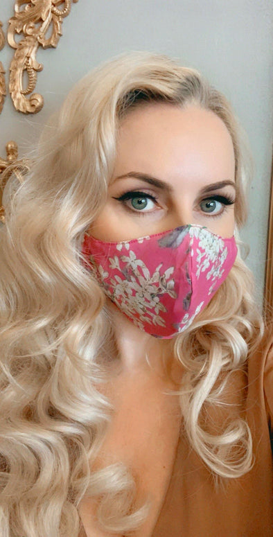 Bombshell Facemask With Filter Pocket made with Archive Lilac Pink Liberty Tana Lawn print
