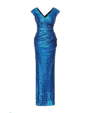Cap Sleeve Electric Blue Sequin Gown