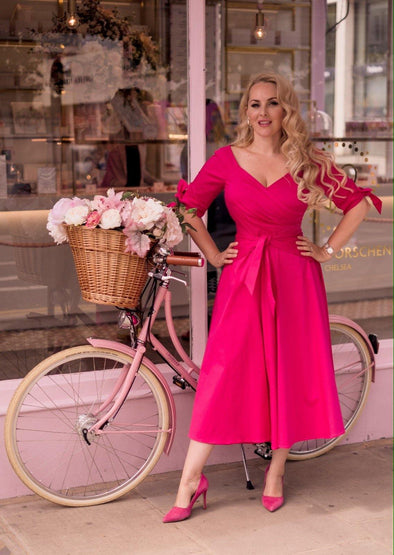 'RSVP' Bombshell Dress in Bright Pink