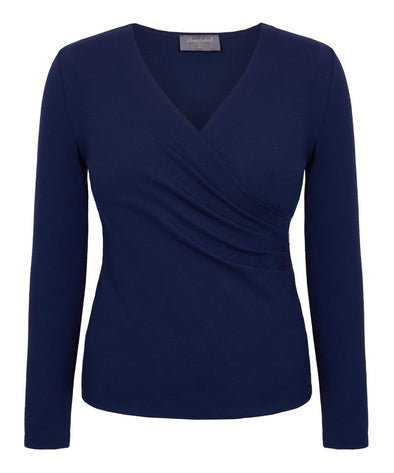 Navy wrap top long sleeves