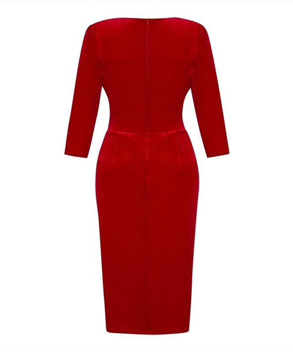 Bright Red Velvet Bombshell 3/4 Sleeve 'Stretch Luxe' Dress