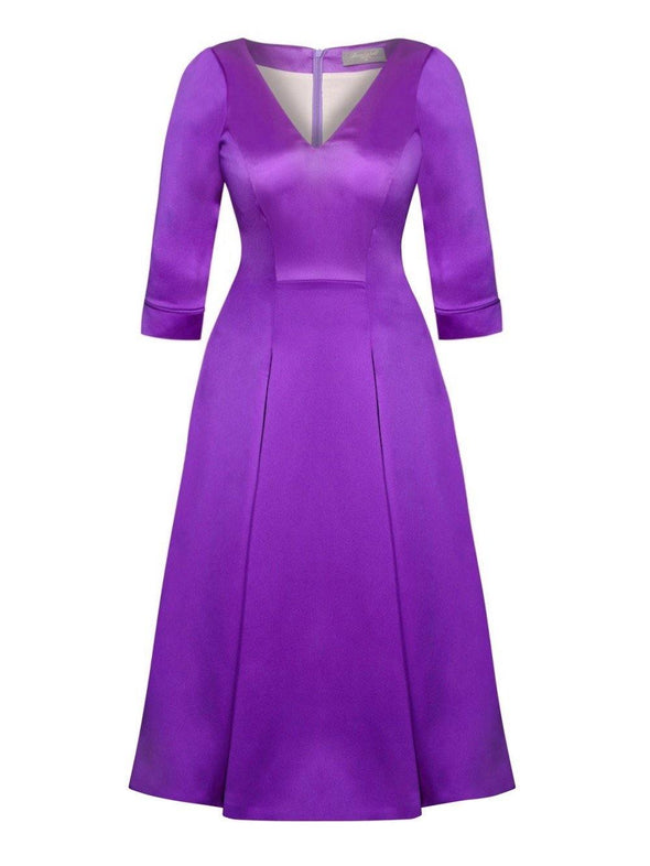 Bombshell 'Elegance' Dress in Soft Matt Purple Stretch Satin Mother of the Bride