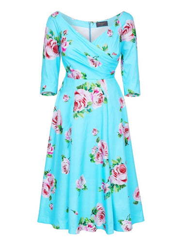 Kensington Garden Aqua 'Edge Of The Shoulder' Midi Dress