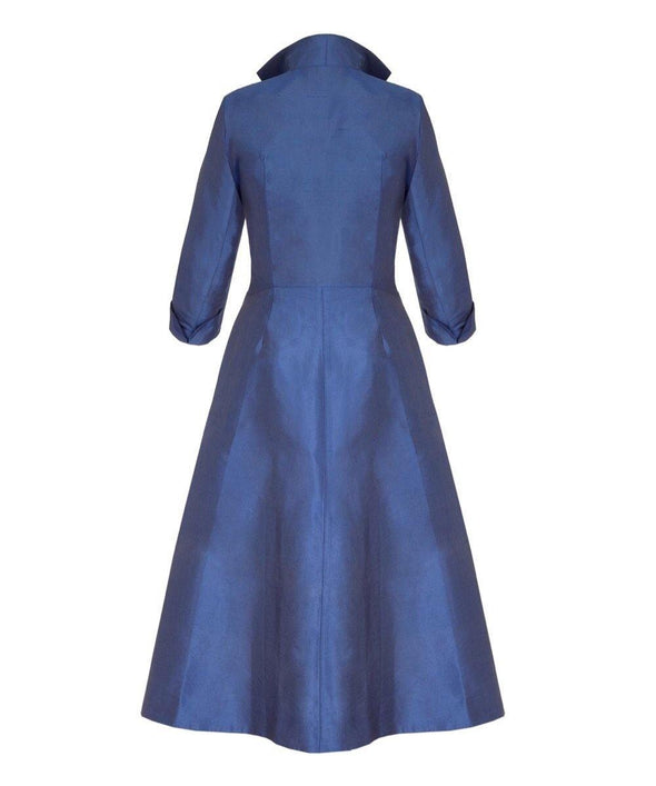 Dior Style Silk Dupion Heron Blue Grace Tie Front Shirt Dress