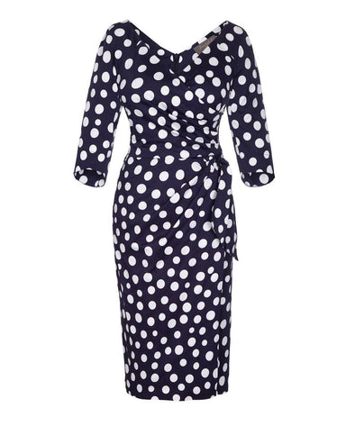 Bombshell Polka Dot Navy Dress Evening Cocktail Event Wedding Graduation