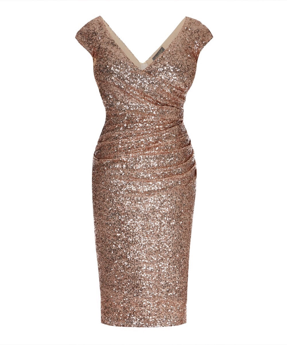 65823006ad8 Cap Sleeve Rose Gold Sequin Cocktail Dress | Hollywood Stretch ...