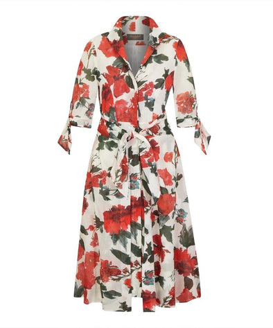 Cotswolds Voile Bombshell 'Grace' Tie Front Shirt Dress