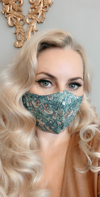 Bombshell Facemask With Filter Pocket in Strawberry Thief Green Liberty Tana Lawn print