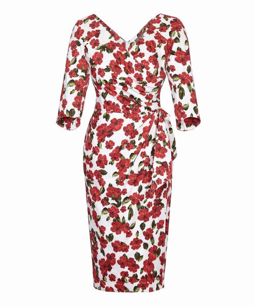 red and white rose print wrap bombshell dress wedding guest dress Katya Wildman