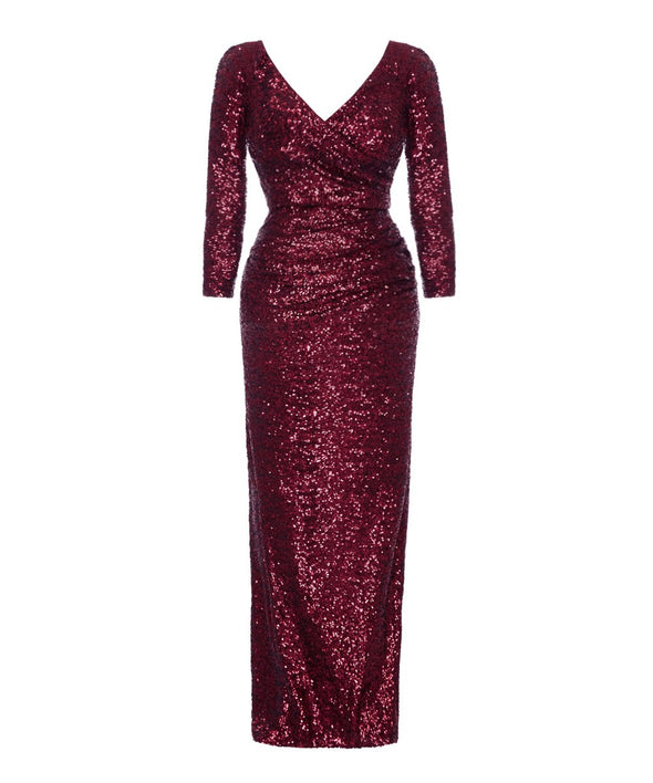 Wine Sequin Evening Gown