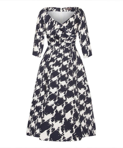 Edge of the Shoulder Midi Bombshell Dress in 5th Avenue Print