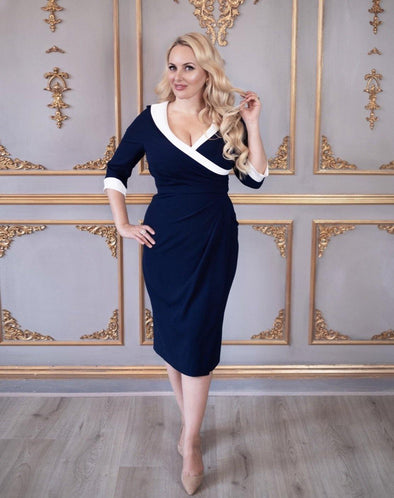 Invitation Navy with White Collar Sarong Dress - Bombshell London