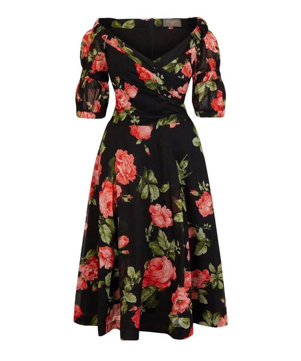 LIMITED EDITION PRE ORDER ARRIVES MID MAY Puff Sleeve Bombshell Dress in Cora's Roses Cotton Voile