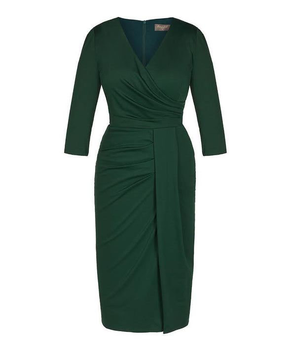 Bombshell Dark Green Jersey Stretch Luxe Dress 3/4 Sleeve