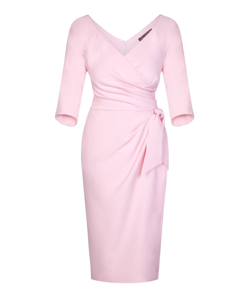 'Confident' Bombshell 3/4 Sleeve Dress Pale Pink