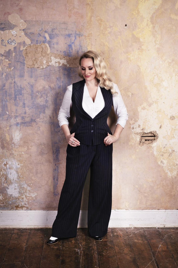 Waistcoat and Wide Leg Trousers in Navy Pinstripe