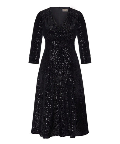 Black Velvet Sequin Swing Bombshell Tea Dress