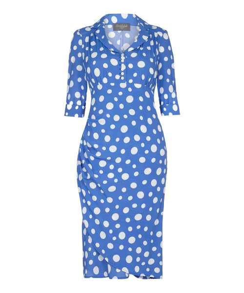 1940's style periwinkle blue tea dress with sleeves polka dot