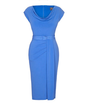Stretch Luxe' Scoop Neck Bombshell Cap Sleeve Jersey Dress Periwinkle