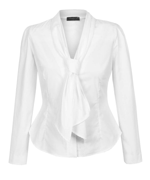Detachable Scarf Hourglass Blouse made using White Cotton - Bombshell London