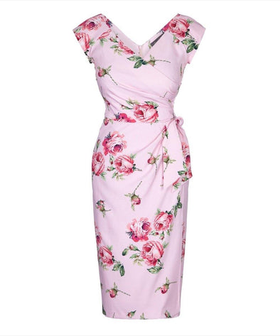 Kensington Roses Pink Confident Bombshell Cap Sleeve Dress