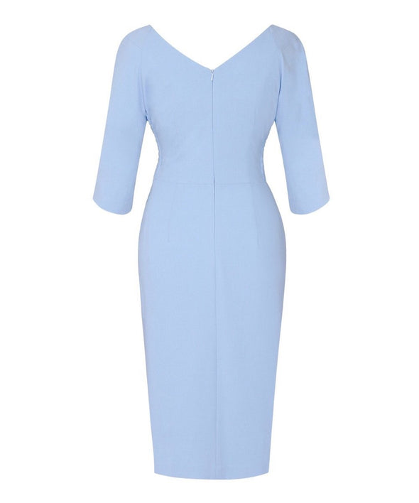 Powder Blue Moss Crepe Bombshell 3/4 Sleeve 'Confident' Dress