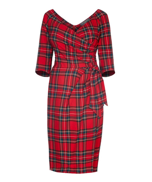 tartan wedding dress mother of the bride wedding guest dress with sleeves