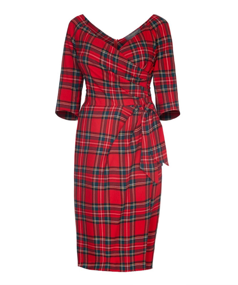 NEW Red Tartan Bombshell 3/4 Sleeve Dress