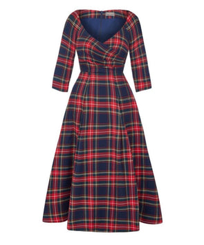 BACK IN STOCK Edge of the Shoulder Midi Bombshell Dress in Midnight Tartan