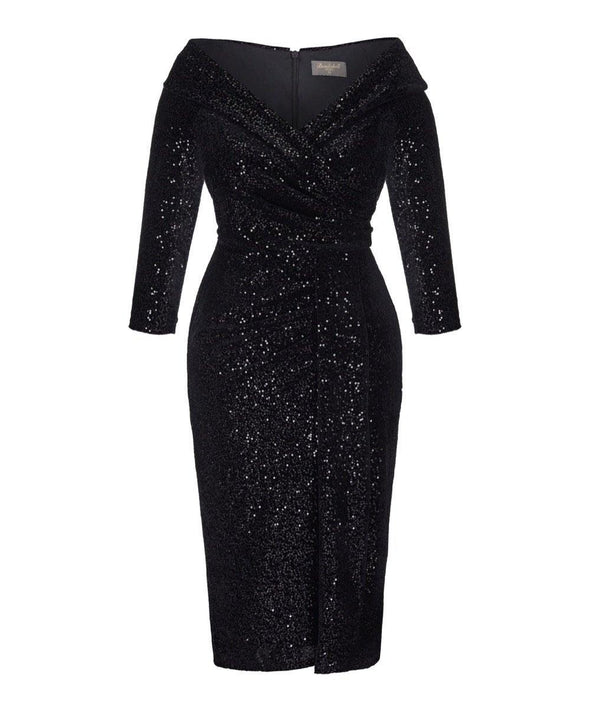 Black Velvet Sequin Edge of the Shoulder Dress