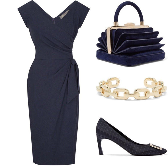 Navy Cap Sleeve Sarong Wrap Dress