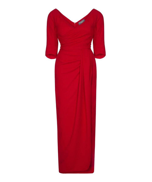 Nigella Red wrap wedding guest dress bombshell evening gown with sleeves