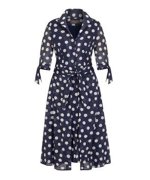 Navy Big Dot Voile Bombshell 'Grace' Tie Front Shirt Dress