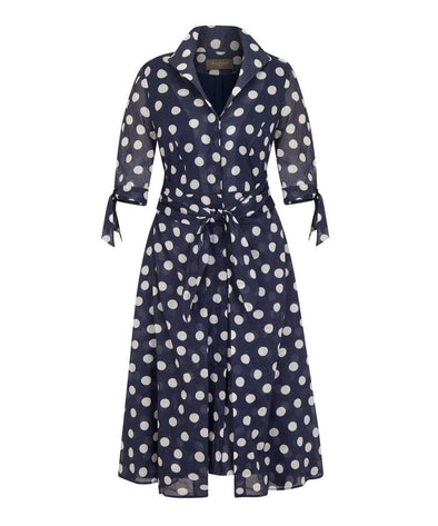 NOW IN Navy Big Dot Voile Grace Tie Front Shirt Dress