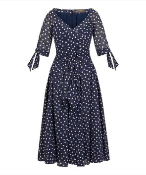 BEST SELLER NEXT DELIVERY END OF JULY - pre order now - 'RSVP' Bombshell Dress in Navy Small Dot Voile