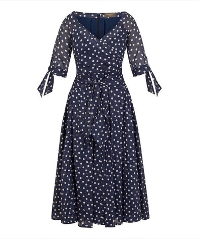 LIMITED EDITION PRE ORDER ARRIVES APRIL 'RSVP' Bombshell Dress in Navy Small Dot Voile