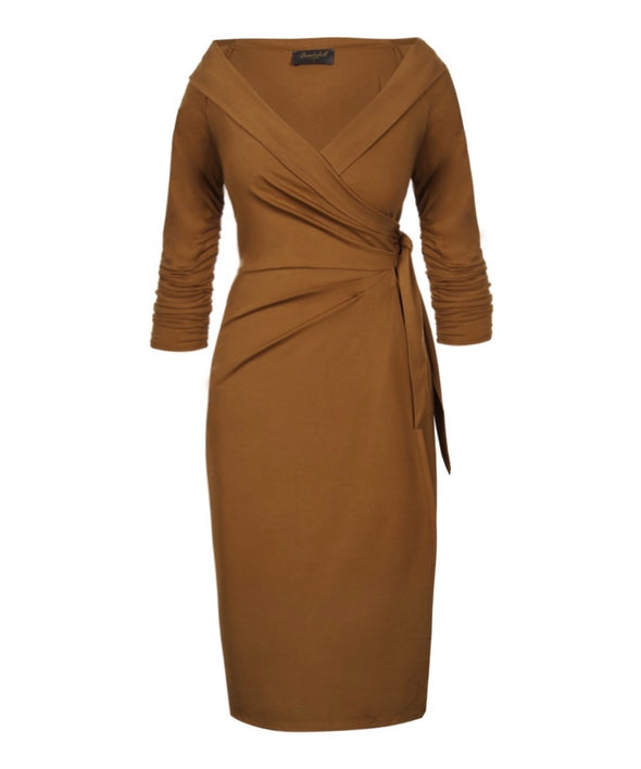Tan Jersey Bombshell 'The Feel Good' Edge Of The Shoulder Wrap Dress 3/4 Sleeve