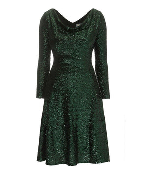 Bombshell dress Bombshell London Green Sequin Flare and Fit Dress