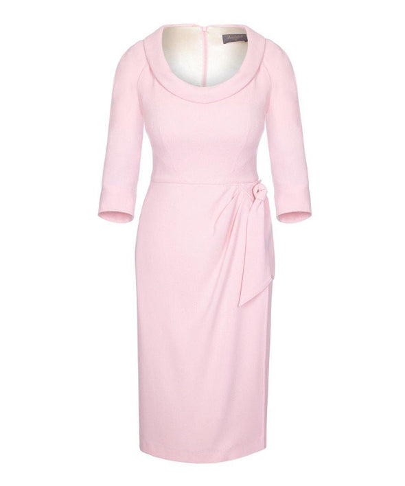 Bombshell Scoop Neck Dress with Sarong Skirt Powder Pink
