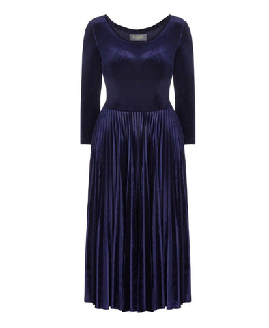 Bombshell Navy Velvet Pleated Midi Dress Events Wedding Comfortable Stylish Warm