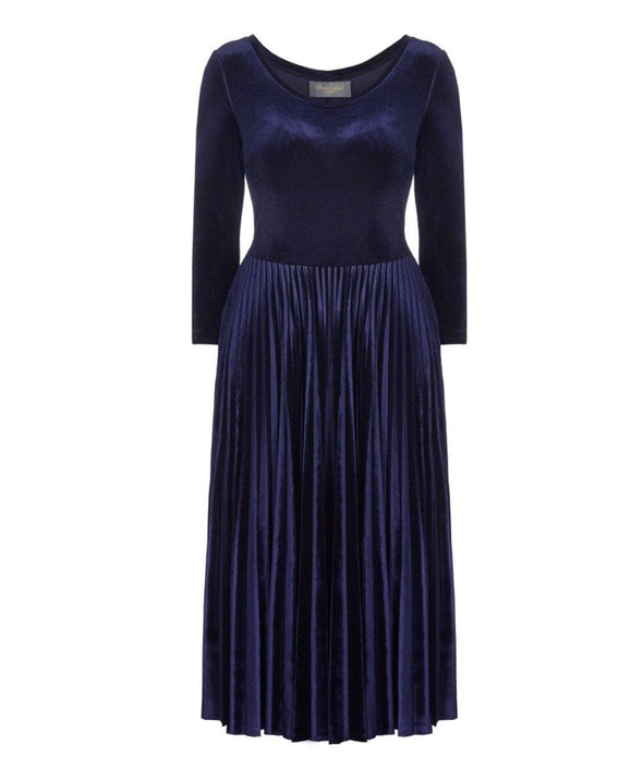 Bombshell Navy Velvet Pleated Midi Dress