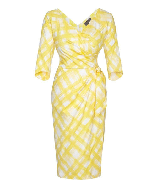 lemon wrap print wrap bombshell dress mother of the bride