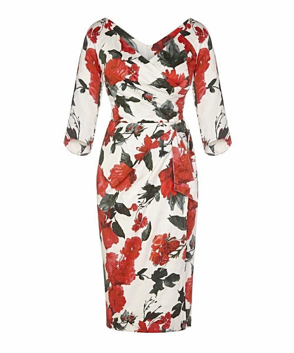 Cotswolds Red Roses Bombshell 3/4 Sleeve Confident Dress