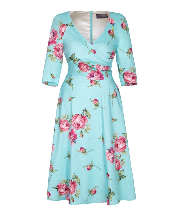 Portobello Roses Aqua Bombshell Dress  Portobello Rose Wedding Event Occasion Cocktail