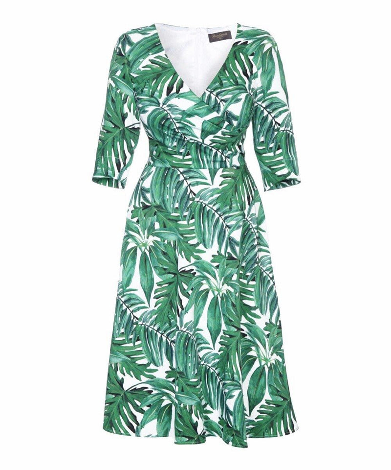 Fit Flare Flatter 'Green Palm Print' Bombshell Dress